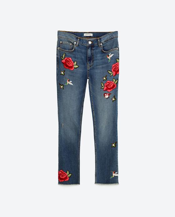 Super cute Zara embroidered jeans £39.99