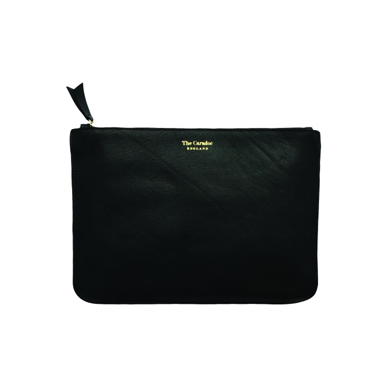 THE most amazing black clutch, beautiful leather with divider pockets inside to keep everything just where it should be