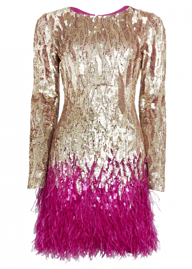 Because it really is the very best party dress. Sequins AND feathers.