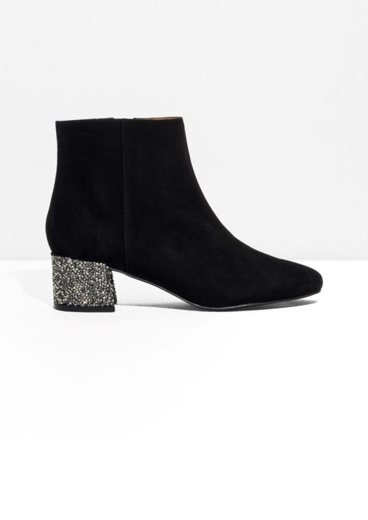 I am always so fussy about black ankle boots, it can be so hard to get it right.  But these black suede ones with a sequin heel are super, and they are a zip on the inside.