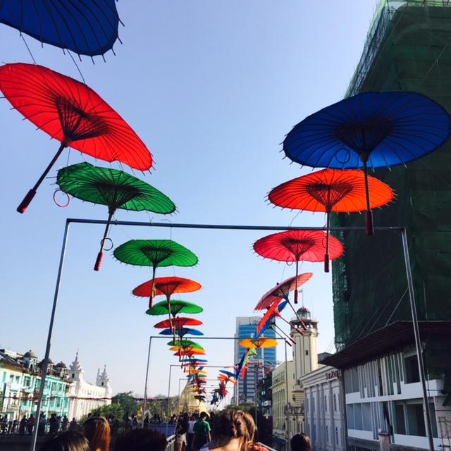 Umbrella display in Yangon